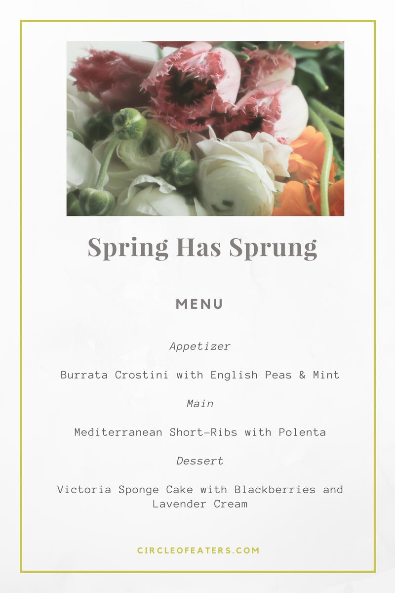 Spring Has Sprung Menu | Circle of Eaters